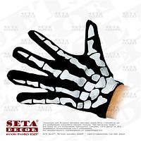 """Перчатки """"Скелет"""" черные с белым рисунком """"костями"""""""