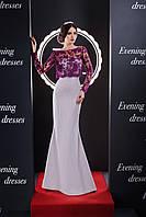 Чудное вечерние приталенное платье с ажурным верхом