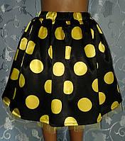 Детская юбка на резинке, летняя, в желтый горошек