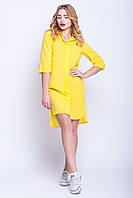 """Модное платье-рубашка """"Мари"""" желтый с накаткой"""