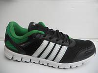 Беговые мужские кроссовки New Veer повседневные черные с зеленым сетка недорого летние 7 км 1489|01144