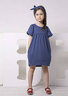 Детское хлопковое платье для девочки (туника) синее (бордовое) ТМ Овен Украина