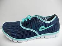 Модные женские кроссовки летние Demax бирюзовые для бега сетка недорого 7 км 1489 01160