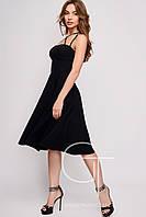 Черное платье на лямках с пышной юбкой размеры 42 44 36