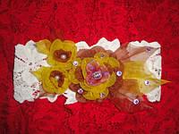 Ажурная повязка на голову Георгин (канзаши) 42см