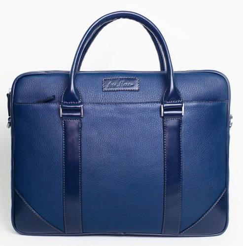 Яркая кожаная мужская сумка Тоут ISSA HARA B14 (13-03) синий