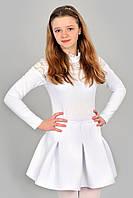 Белая юбка со складочками