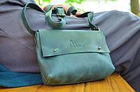 "Женская кожаная сумка клатч зеленая ""Jenny"" на гвоздике жіноча шкіряна сумка"