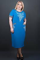 Красивый женский сарафан батал Мартина (голубой