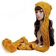 Вязаная шапка в комплекте с шарфом