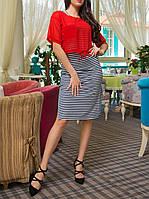 """Полосатое платье  """"Сабрина"""" с шифоновой блузкой в комплекте, до 50 размера"""