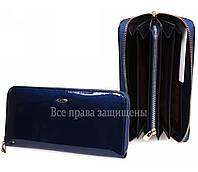 Темно синий кошелек клатч на молнии для женщин