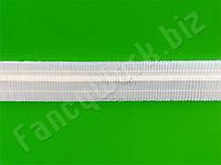 Тесьма для штор (шторная лента), 4 см., 100 м., прозрачная, равномерная гармошка.