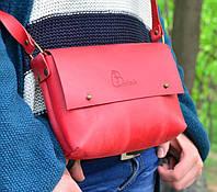 "Женская кожаная сумка клатч красная ""Jenny"" на гвоздике жіноча шкіряна сумка"