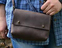 """Женская кожаная сумка клатч коричневая """"Jenny"""" на гвоздике жіноча шкіряна сумка"""