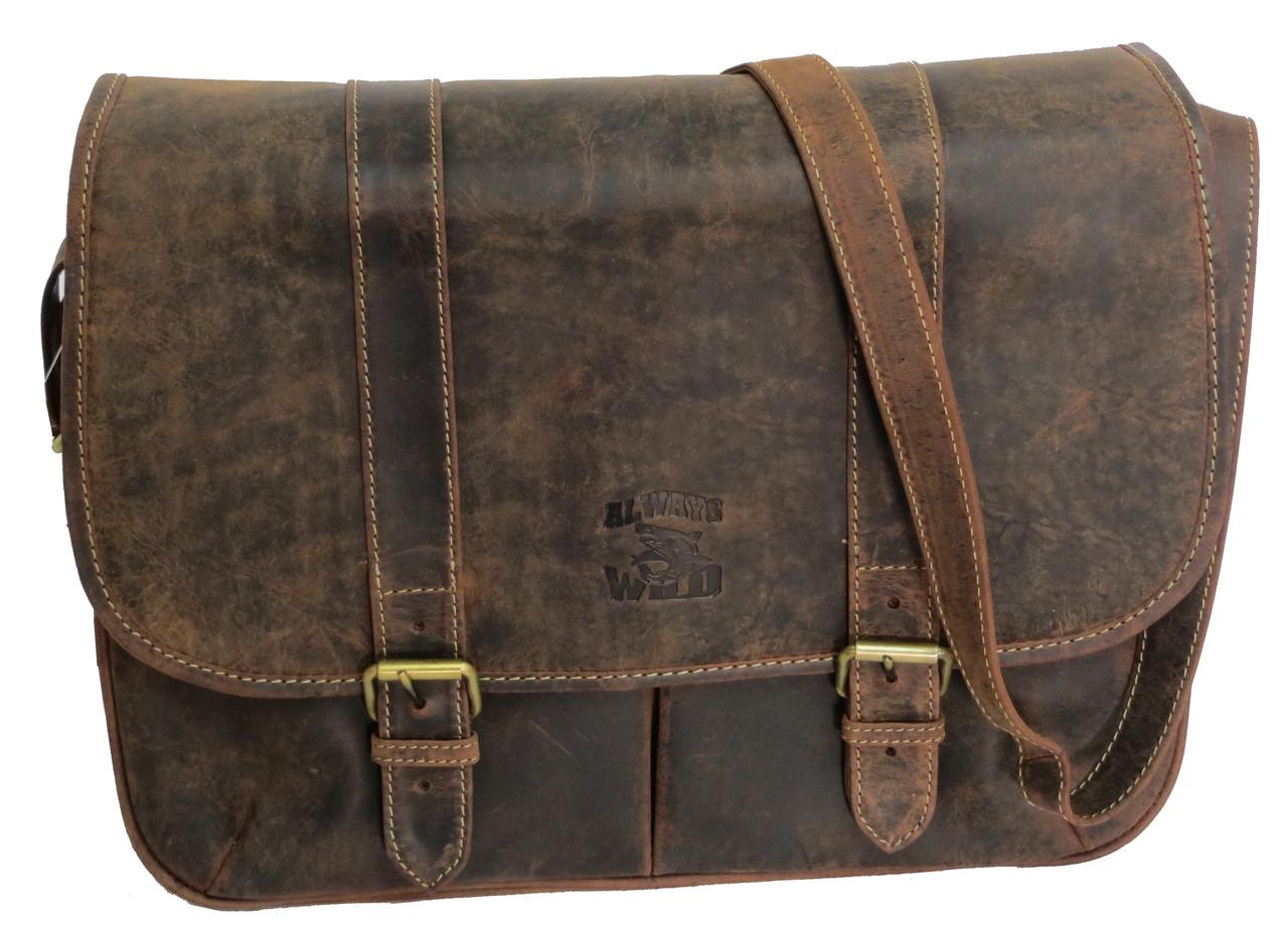 Мужская кожаная сумка мессенджер  коричневая ALWAYS WILD LB14500