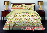 Комплект постельного белья двуспальный HomeLine Бязь 175х215 АКВАРЕЛЬ  нав 50х70