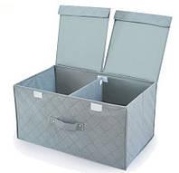 Короб с бамбуковыми волокнами для хранения белья, вещей (двойная крышка)