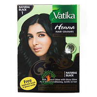 Краска для волос на основе хны Vatika Natural Black (Черная) Дабур, 60 г