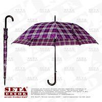 """Зонт трость """"Оксфорд"""" фиолетовый в клетку"""