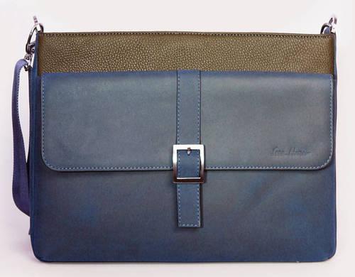 Мужская кожаная сумка-месенджер ISSA HARA B17 (12-33) синий