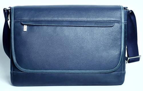 Кожаная сумка через плечо, мужская ISSA HARA B5 (13-33) синий