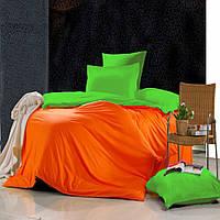 Евро комплект постельного белья Orange-green-