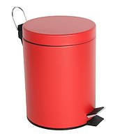 Ведро для мусора с педалью,круглое на 5л, красное