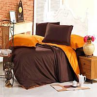 Евро комплект постельного белья marsala-orange