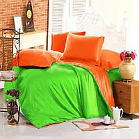 Евро комплект постельного белья green-orange