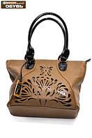 Женская сумка коричневая с выбитым рисунком