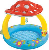 Надувной детский бассейн Грибок Intex 57407 с навесом, винил, диаметр 1,02 м, 45 л, на 1-3 года