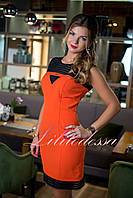 Повседневное платье футляр с молнией оранжевое