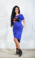 Оригинальное легкое женское платье синего цвета