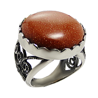 Авантюрин, мельхиор кольцо
