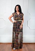 Молодежное летнее длинное платье из шифона
