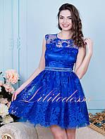 Вечернее платье с пышной юбкой Виолет синее