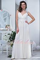 Белое вечернее длинное платье Каролин