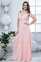 Персиковое вечернее длинное платье Каролин
