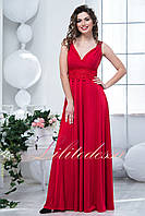 Красное вечернее длинное платье Каролин