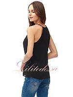 Шифоновая блузка с открытыми плечами черная