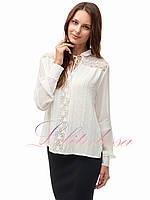 Шифоновая блузка с гипюром белая
