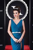 Изысканное вечернее платье с разрезом до бедра и роскошной оголённой спинкой