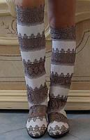 Летние оригинальные женские сапоги макраме со вставками экокожи