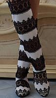 Черно-белые летние женские сапоги макраме со вставками экокожи