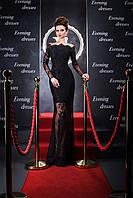 Аристократичное вечернее платье с чудной драпировкой гипюра