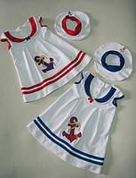 Платье летнее нарядное для девочки с беретом, 100 % хлопок, р.р.26-32