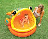 Детский надувной бассейн Intex Ленивая рыбка с навесом 124х109х71 см,57109