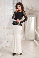 Черно-белое вечернее женское платье в пол баска с вырезом на спине и юбкой годе кристалл гипюр