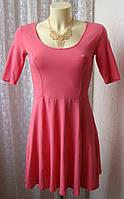 Платье летнее розовое хлопок мини H&M р.42 6711а